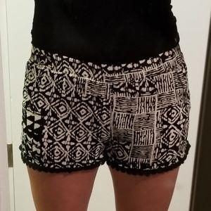RAGA Tribal Print Black & White Shorts